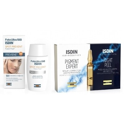 Isdinceutics Rutina Antimanchas Spot Prevent 50 ml + Pigment Expert 5 ampollas + Night Peel 5 ampollas