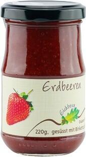 Erdbeer-Fruchtaufstrich mit Birkenzucker gesüsst 220g