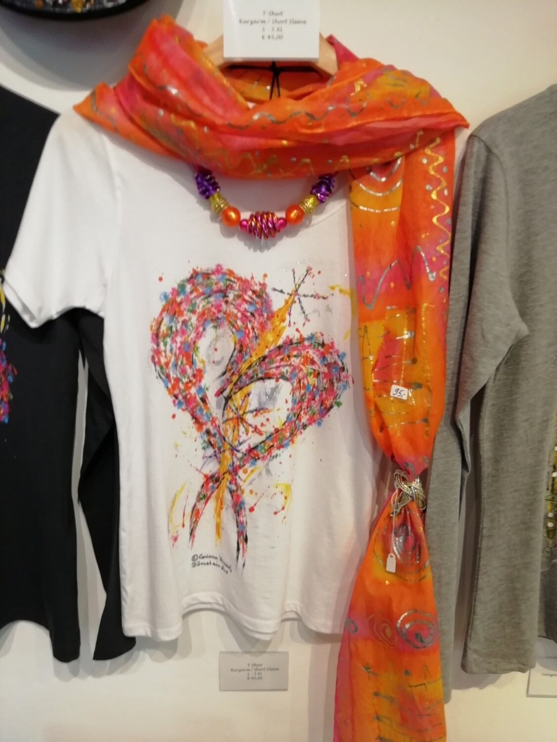 """T-Shirt for women in white with short sleeve S - 5 XL - Design """"The Heart"""""""