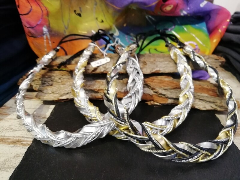 Necklaces mixed colors silver / gold black braided - Handmade  by Corinna Kirchhof
