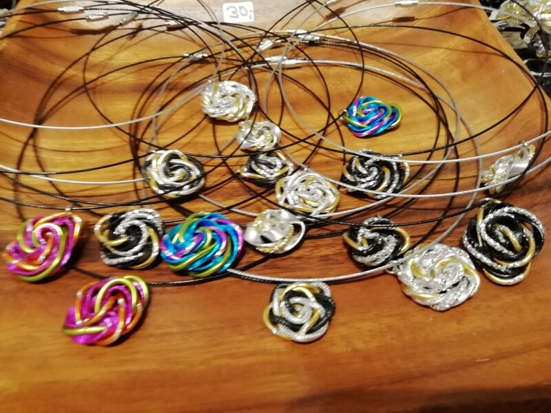 Necklaces on a neckband twisted silver / gold / black / multicolor - Handmade  by Corinna Kirchhof