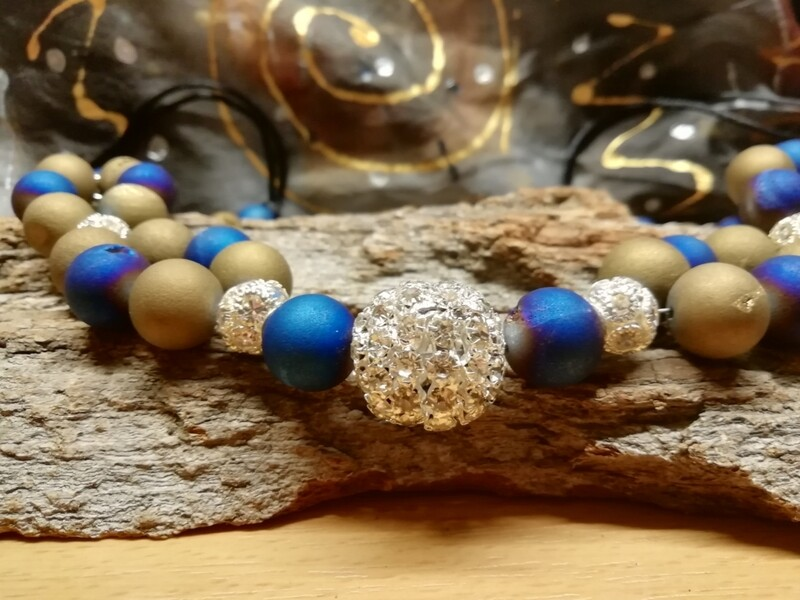 Necklaces - made with natural blue and green Achat Pearls - Handmade  by Corinna Kirchhof