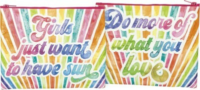 Primitives by Kathy GIRLS JUST WANT TO HAVE SUN zipper pouch