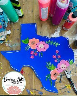 Flora Texas Door Hanger - Painted