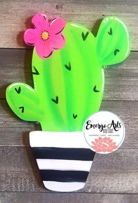 Cactus B&W Door Hanger - Painted