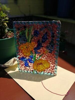Vitromosaico con flores