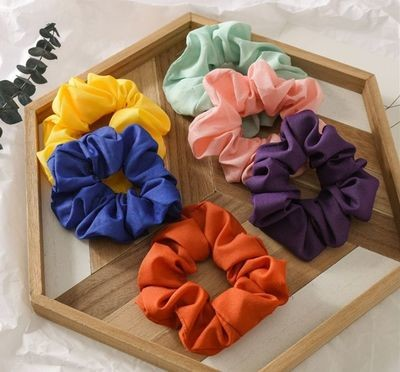 Plain chiffon scrunchies