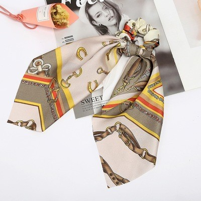 Printed beige satin scrunchies with scarf