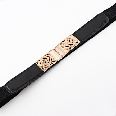 Metal rose stretch belt