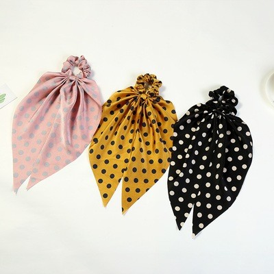 Polka dots satin scrunchies with scarf