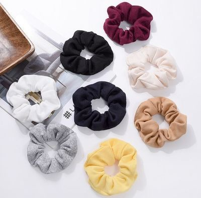 Soft knitted solid scrunchies