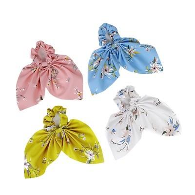 Floral chiffon bow scrunchies