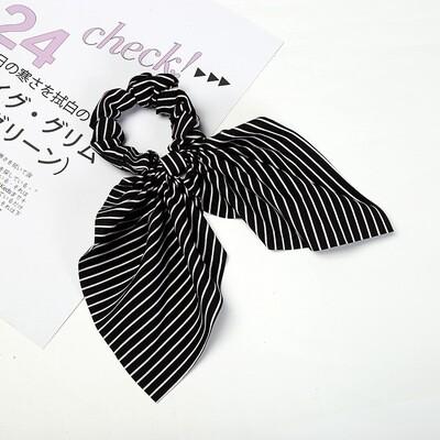 Strips chiffon bow scrunchies