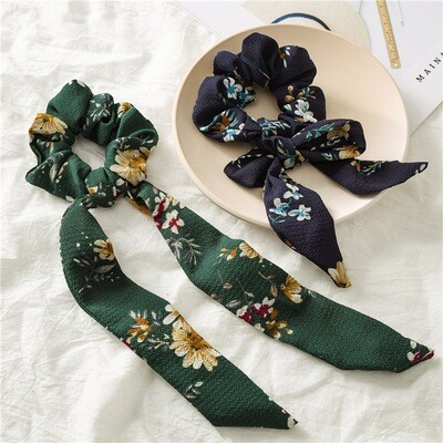 Floral chiffon scrunchies with scarf