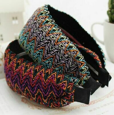 7cm-wide bohemian style rainbow threads lace headband