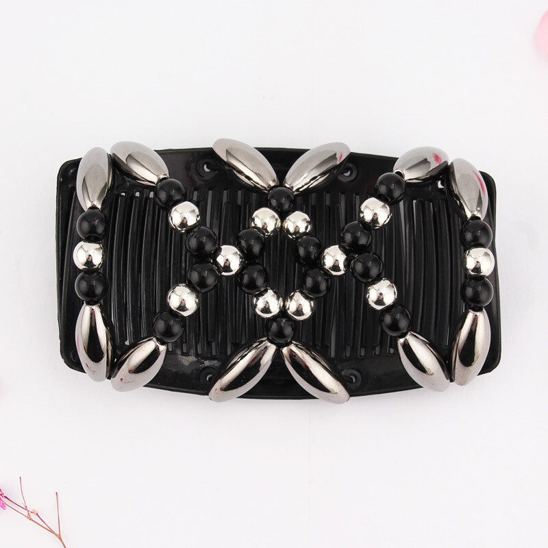 Pearl beads butterfly hair comb