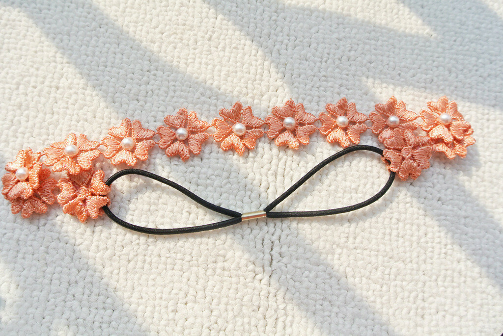 Lace flower white pearls headband