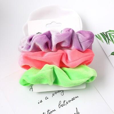 3-pack neon velvet scrunchies