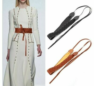 Lace leather wide ribbon tie-up belt