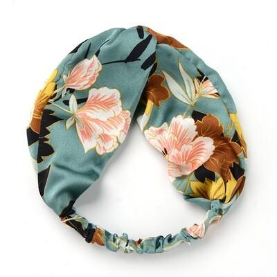 Peony floral patterned silky elastic turban headband