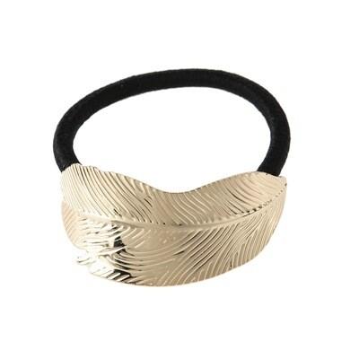 Metallic feather elastic hair tie