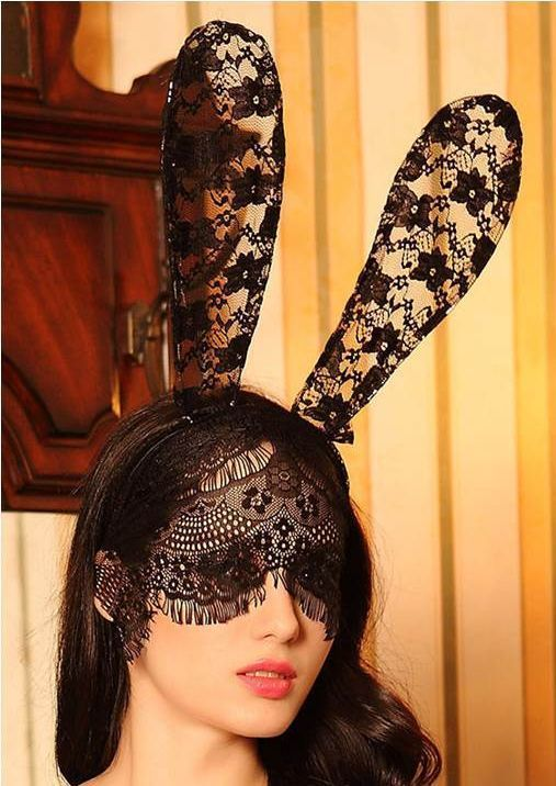 Premium lace bunny ears with veil