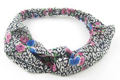 Floral leopard turban headband