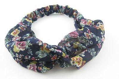 Dark blue floral turban headband