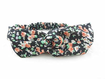 Black floral turban headband