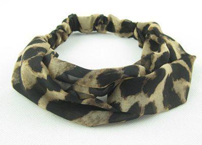 Leopard chiffon turban headband