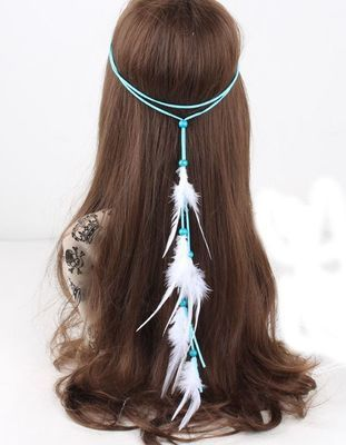 Turquoise suede white feather tie