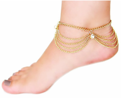 Dangle gems multi-layer ankle chain