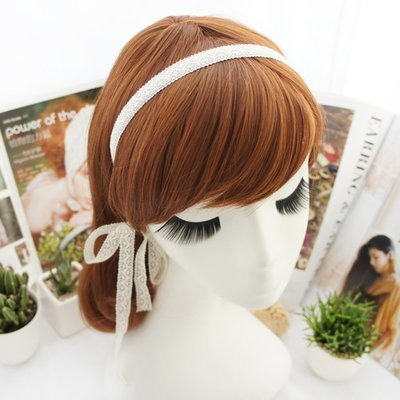 White lace slim headband with tain