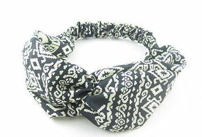 Black white totem turban headband