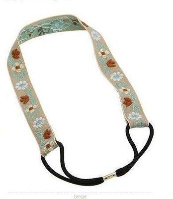 Cotton flower-embroidered headband
