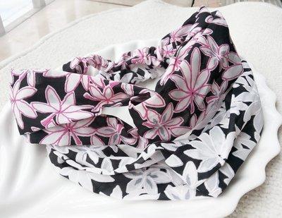 Large flowers turban headband