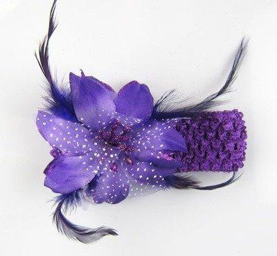 Organza feather flower headband