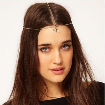 Dangling swallow hair chain (front-head)