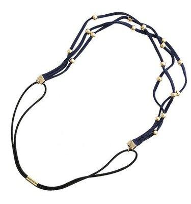 Golden-beads suede headband