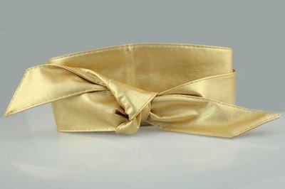 Soft leather wide ribbon tie-up belt