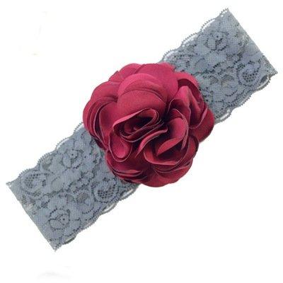 Satin pompom wide lace headband