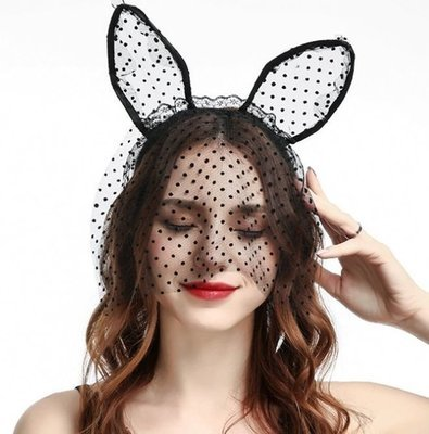 Dots lace small bunny ears with veil