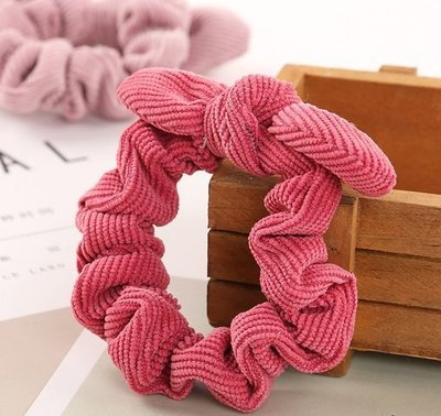 Soft corduroy scrunchies with bow