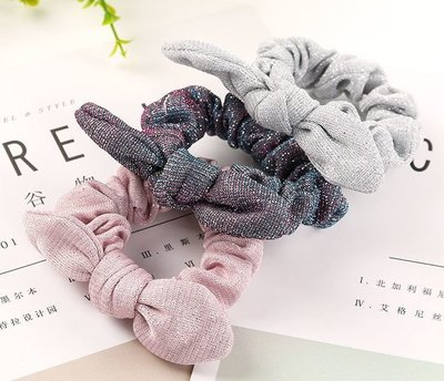 Glitter tinsel scrunchies with bow