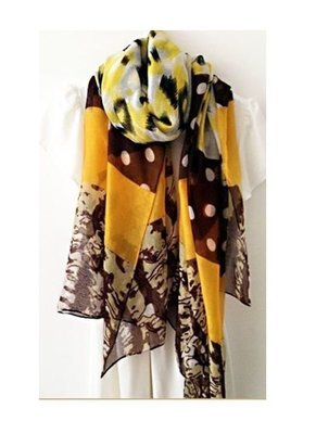 Yellow brown mixed colour  long scarf