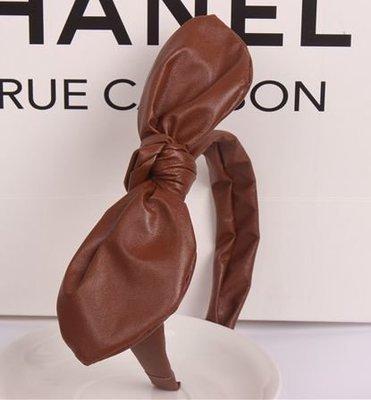 Leather-like bowknot headband