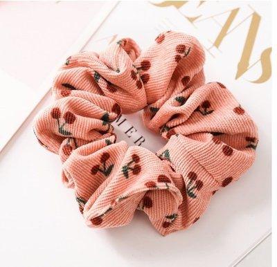Soft corduroy Pink cherry scrunchy
