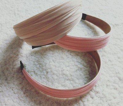 2.8cm wide satin & crinkle chiffon layered headband