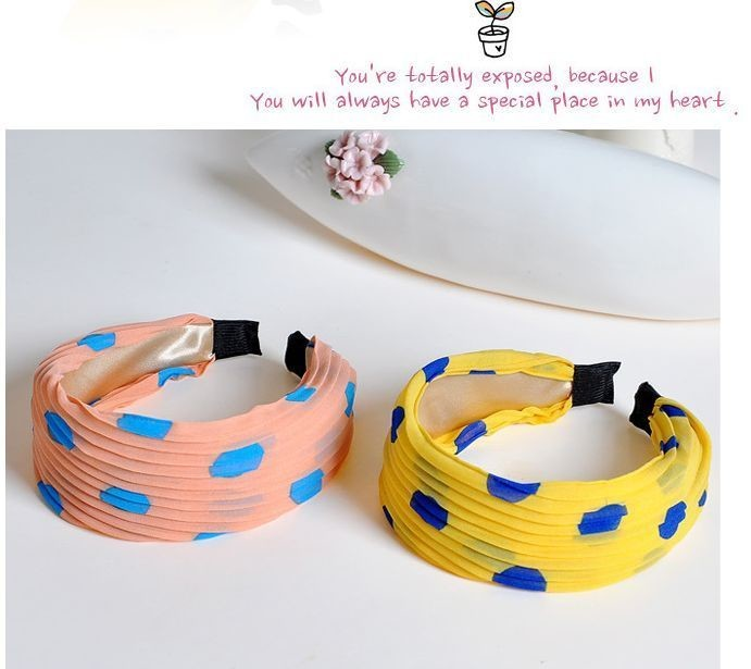 Chiffon dots wide headband