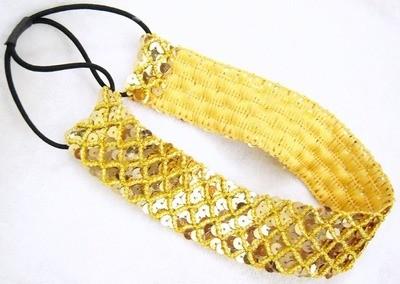 Wide golden-sequins headband